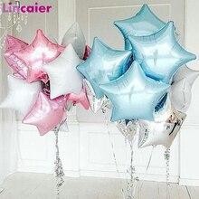 Globos de papel de aluminio con forma de estrella de 6 uds. Para decoración de feliz cumpleaños, primer cumpleaños, para bebé, niña, fiesta, decoración de recién casados para niños y adultos de un año