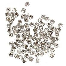Серебряные Квадратные Заклепки 100 шт для украшения сумок 6