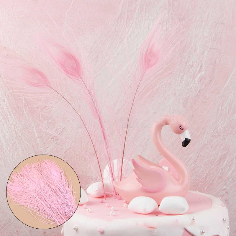 1Pc 27CM Rosa Pavo Real pluma pelo flamencos hermoso tiro utilería pastel decoración enchufe mano seleccionar decoración de boda Premium