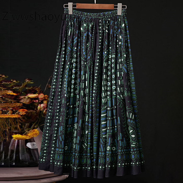 $ US $63.99 Ziwwshaoyu 2020 Spring Summer Runway Designer Skirt Women's Vintage 100% Cotton Elephant Print Elegant Pleated Skirt