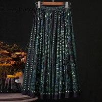 Ziwwshaoyu 2020 Spring Summer Runway Designer Skirt Women's Vintage 100% Cotton Elephant Print Elegant Pleated Skirt