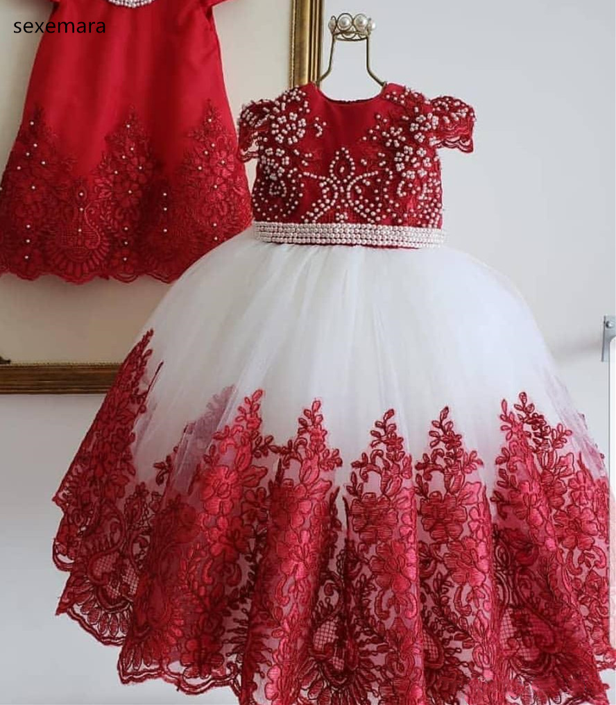 SexeMara Girl Birthday Dress Kids Formal Wear Flower Girls Dresses For Wedding Elegant Lace Pearls Girls Pageant Dress