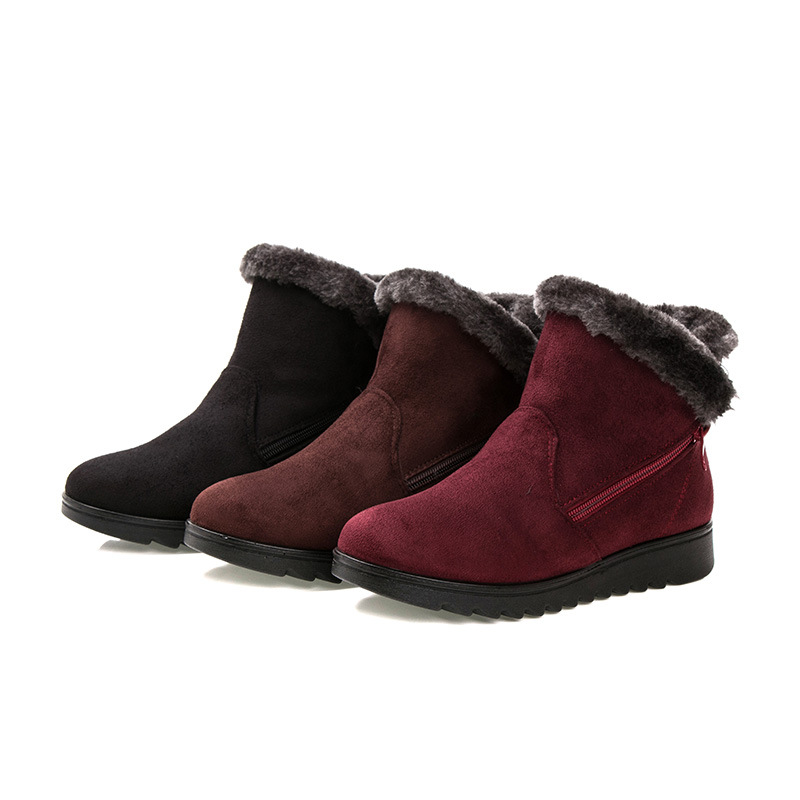 Winter Women's Suede Warm Snow Boots Plus Size Plus Velvet Thick Flat Ankle Boots Middle-aged And Elderly Non-Slip Short Boots