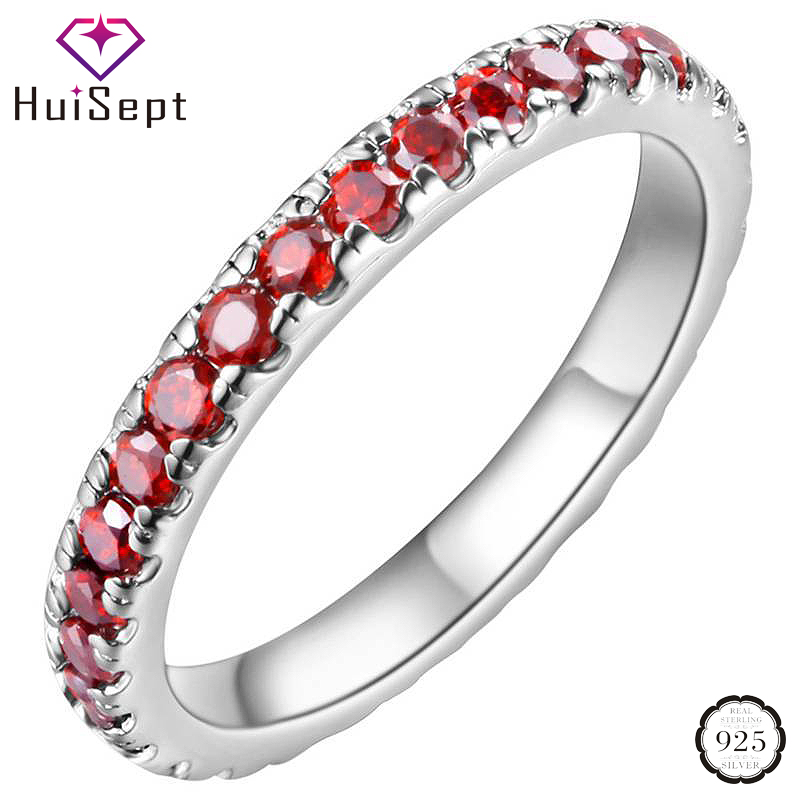 HuiSept Silver 925 Ring Jewelry with Round Shaped Amethyst Gemstone Fashion Ornaments Rings for Women Wedding Promise Wholesale