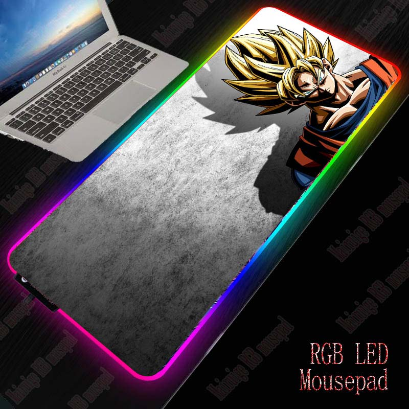 XGZ Dragon Ball Anime Large RGB Gaming Mouse Pad Gamer Keyboard Mousepad LED Light USB Wired Non-Slip Mouse Mice 7 Dazzle Colors 1