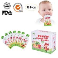 8 unidades/pacote 100ml crianças saco de armazenamento saco de leite materno reutilizável bebê frutas e legumes bolsa de alimentos diy bebê