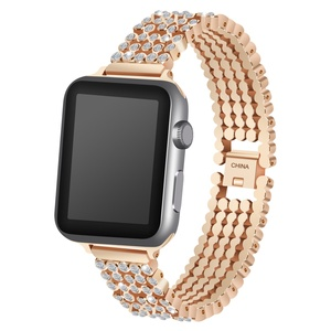 Image 4 - Crystal Diamond strap for Apple Watch band 38mm 42mm 40mm 44mm SE stainless steel Replacement Bands for iWatch series 6 5 4 3 2