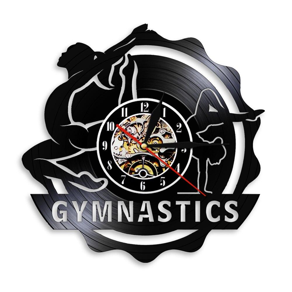 Horloge murale suspendue en vinyle noir, signe de gymnastique, enregistrement, fait à la main, 3D, décoration murale, cadeau pour les amateurs de gymnastique