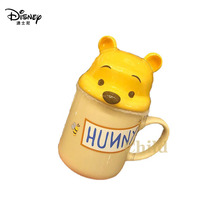 Disney 330ml Pooh Bear Mug Cute Ceramic Cup Children's Birthday Gift Adult Coffee Cup Kids Milk Cup Daily Office Cup with Lid