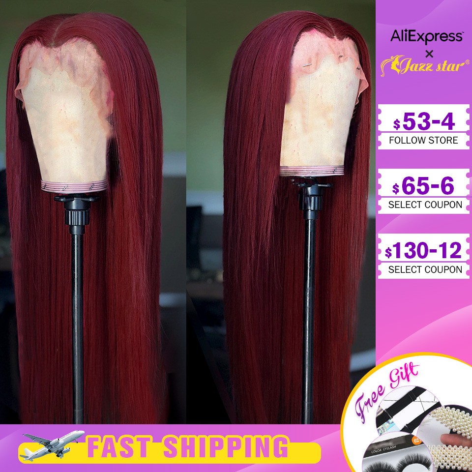 Brazilian Wig13x4 Straight Burgundy Lace Front Wig 99J Lace Front Human Hair Wigs For Black Women Pre-Plucked Non-Remy Jazz Star