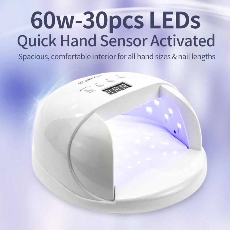 SIMINAIL de alta potencia lámpara de uñas LED UV 60w secador de uñas de Gel polaco rápido curado manos pies con 4 pantalla LCD Hontiey UV púrpura LED de alta potencia Chip 360Nm 375Nm 385Nm 395Nm 405Nm UVA UVB cuentas de iluminación 3 5 10 20 30 50 100 vatios matriz 3D