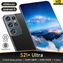 Global Version S21+ Ultra 6.7 Inch Smartphone Android 11 6500mAh 12+512GB Full Screen Support Face ID 4G 5G Network Mobilephone