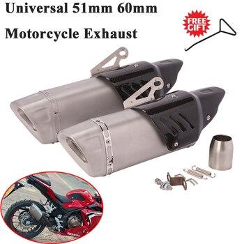 Uniwersalny 51mm motocykl rura wydechowa zmodyfikowany tłumik z włókna węglowego 60mm dla R3 KTM 390 Ninja400 Z900 CB400 Pitbike TNT