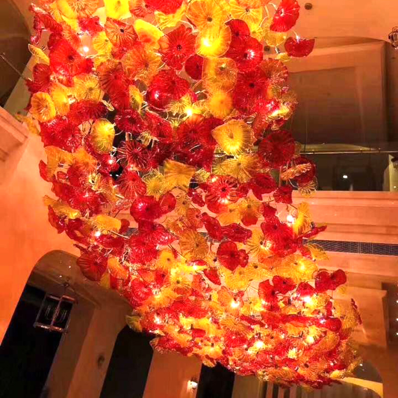 Hotel lobby light villa club beauty salon sales department sand table lamp art lotus leaf flower crystal chandelier custom