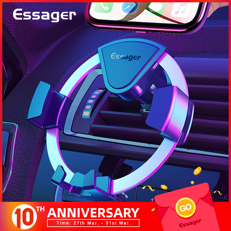 Essager Gravity Car Phone Holder For IPhone Samsung Xiaomi Car Mount Holder For Phone In Car Cell Mobile Phone Holder Stand