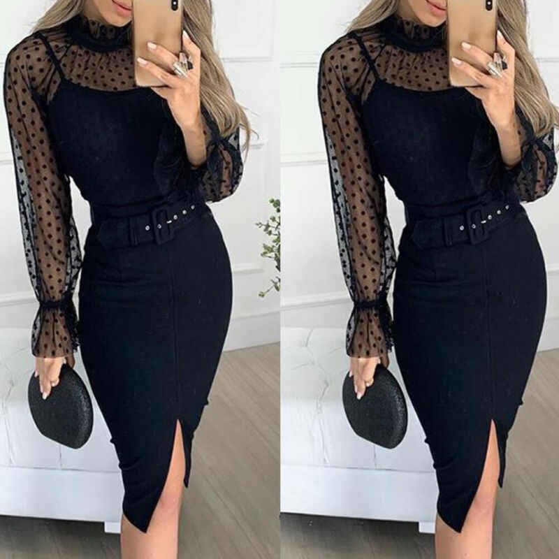 Women Sexy Black Spaghetti Strap Dress Sleeveless Fit With Belt Wear inside Dresses Office Lady Fashion Split Vestidos
