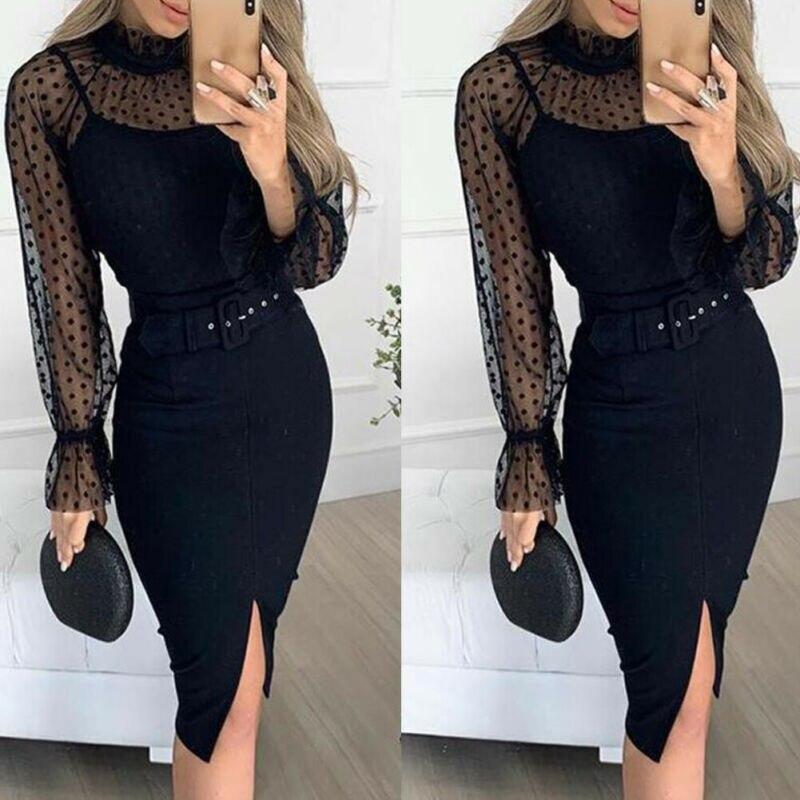 Women Sexy Black Spaghetti Strap Dress Sleeveless Fit With Belt Wear Inside Dresses Office Lady Fashion Split Vestidos