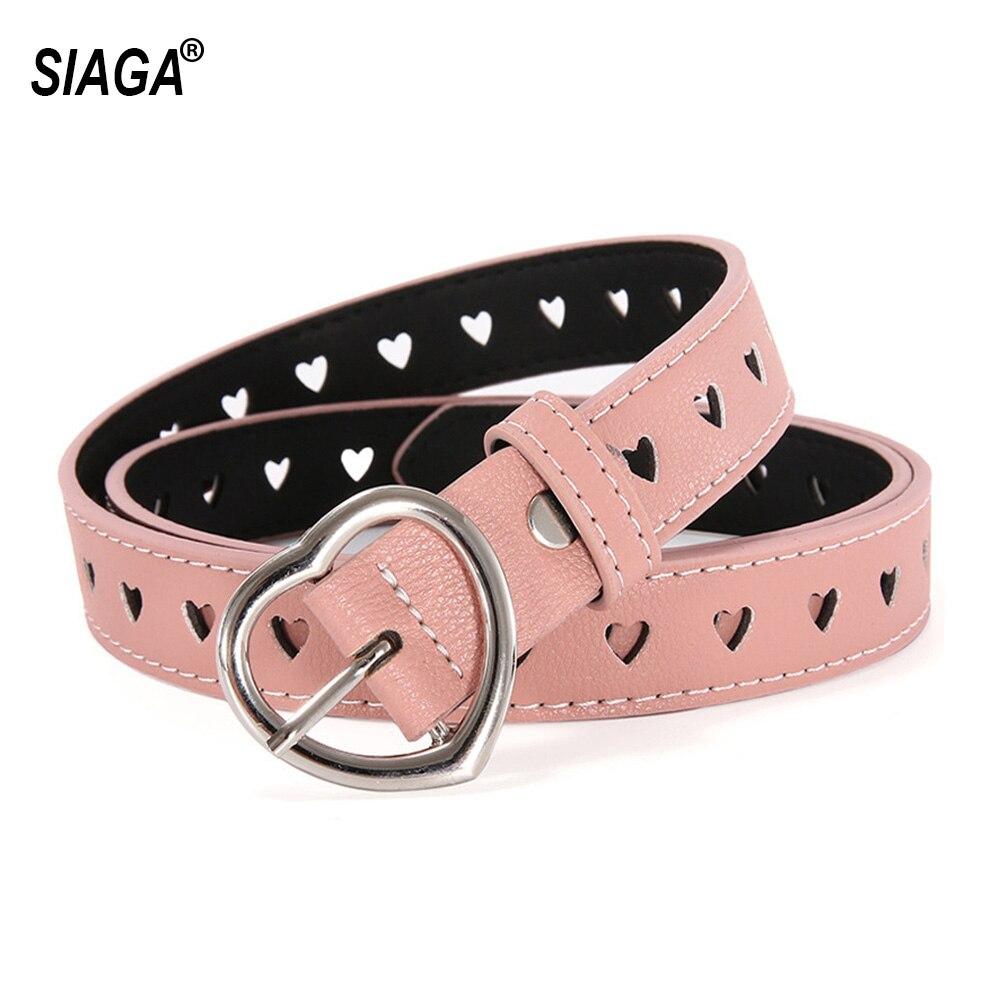 Retro Internet Celebrity Heart-shaped Leather Belts Buckle Metal Metal Pink Belt for Women 2.3cm Width Accessories AK028