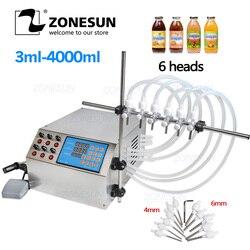 Máquina de enchimento líquida elétrica 3-4000ml da bomba de controle de digitas zonesun para o óleo do suco de água do enchimento do frasco do perfume com 6 cabeça