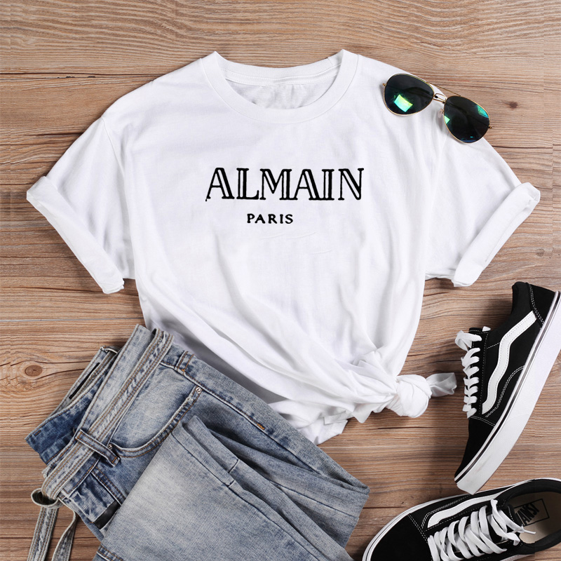 Almain Printed Tee Shirt Femme O-neck Short Sleeve Cotton Tshirt Women Black White Summer Loose T Shirts For Women Tops