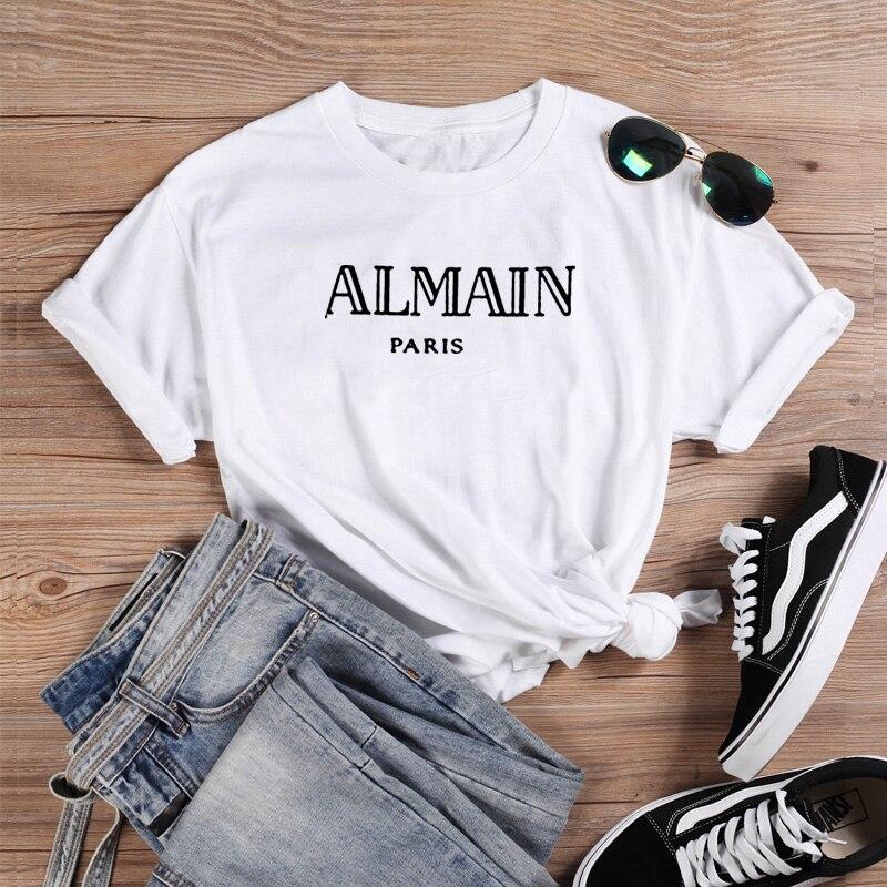 Almain Printed Tee Shirt Femme O-neck Short Sleeve Cotton Tshirt Women Black White Summer Loose T Shirts For Women Tops