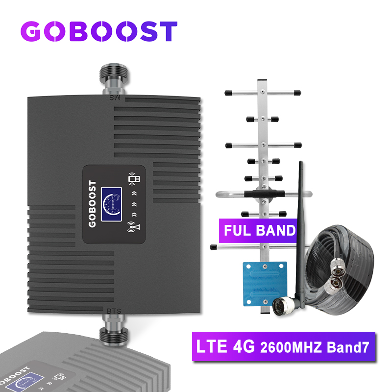 GOBOOST Cellular Signal Booster 4g 2600 Amplifier LTE Band7 Cell Phone 4g Cellular Amplifier Mobile Gsm 2g 3g 4g Antenna Yagi