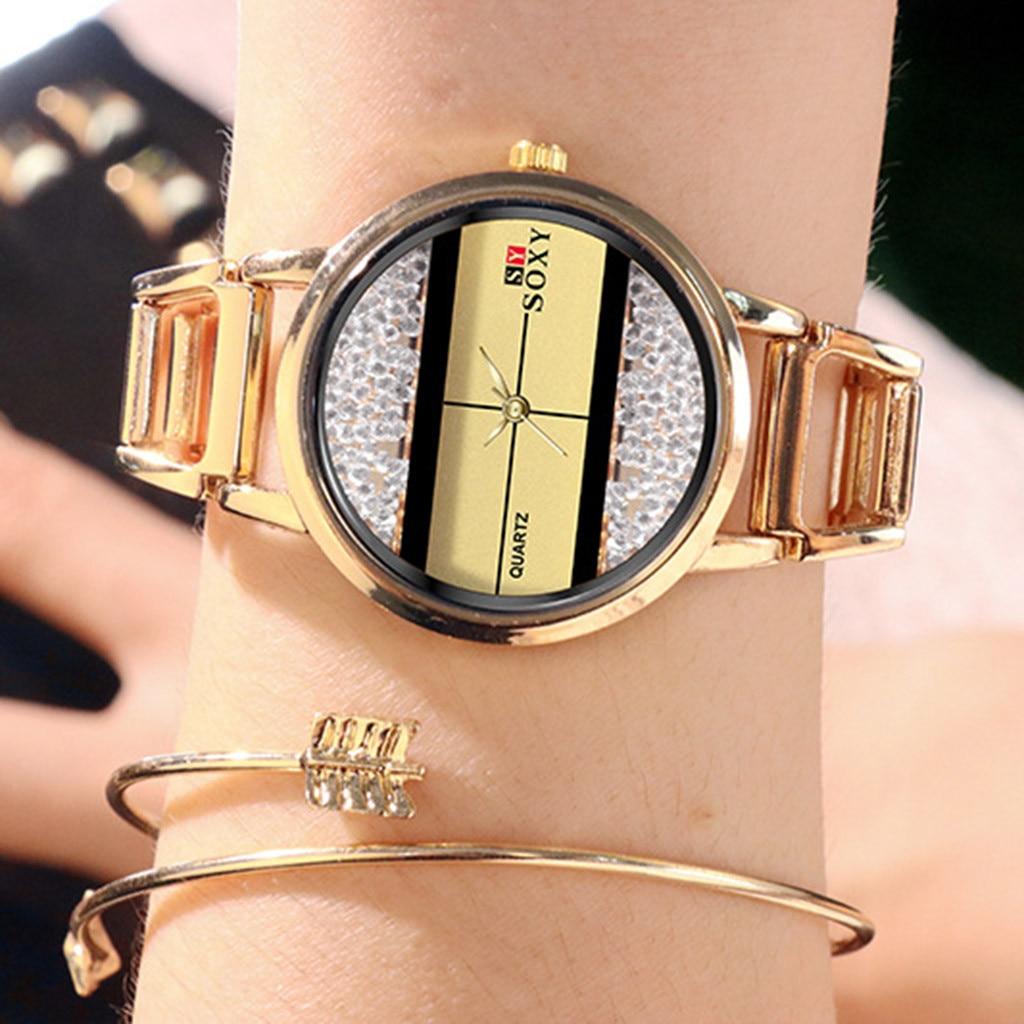 Роскошные женские часы из сплава и стали модные золотые кварцевые наручные часы модные женские часы reloj mujer relogio feminino
