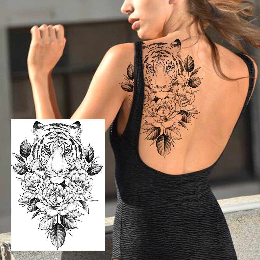 เซ็กซี่ดอกไม้ชั่วคราวรอยสักBody Artภาพวาดแขนขาสติกเกอร์รอยสักสมจริงปลอมสีดำRoseรอยสักกันน้ำ