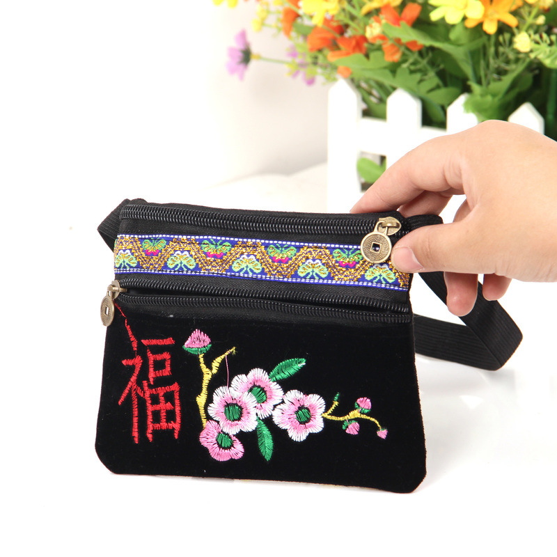 Dan Ms 2019 New Style Wallet Retro Embroidered Belle Plaine Wallet Body Hugging Bag Square Dance Bag
