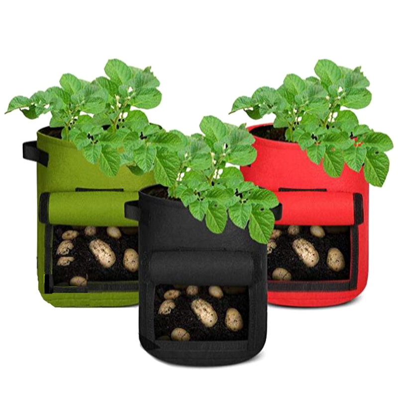 3 Pcs Potato Grow Bags  Breathable Felt  Tomato Flower Vegetable Growing Bags Plant Container Aeration Fabric Pots with Flap Win|Grow Bags| |  - title=