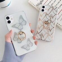 MANGEL AN Diamant Ring Stehen Überzug Liebe Herz Klar Telefon Fall Für iphone 11 12 Pro Max X XR XS 7 8Plus SE2 Nette Schmetterling Abdeckung
