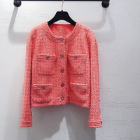 Women Skirt Set Spring Pink Tweed Jacket And Mini Skirt Fashion Suit Ladies 2 Piece Sets High Quality
