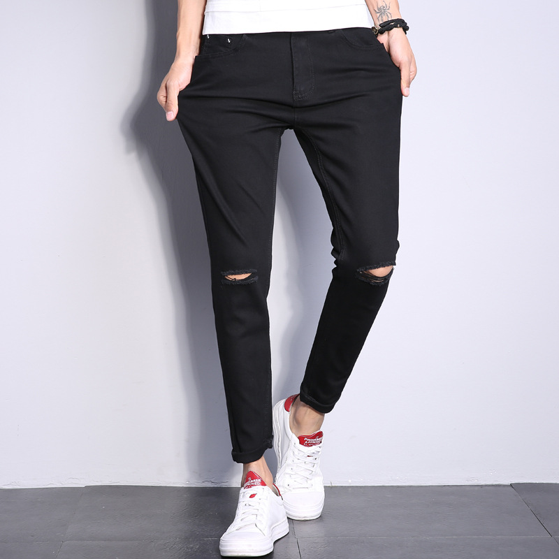 Summer Knee With Holes Jeans Men's Slim Fit Korean-style Trend A- Line Scraping Rotten Skinny Pants Students Black And White Wit