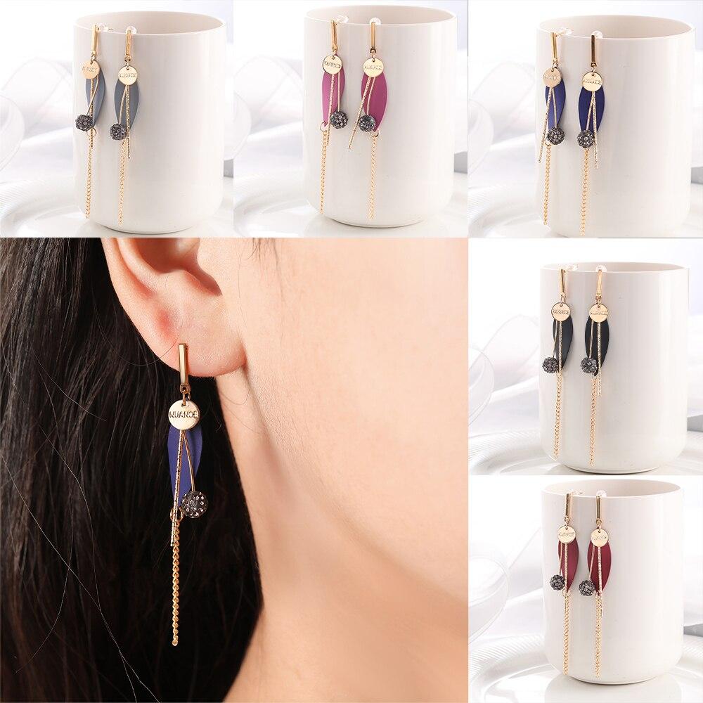Fashion Leaf Drop Earring For Women Long Tassel Earring With Cubic Ziron Ball Pendant Dangle Earring Jewelry Gift For Friend