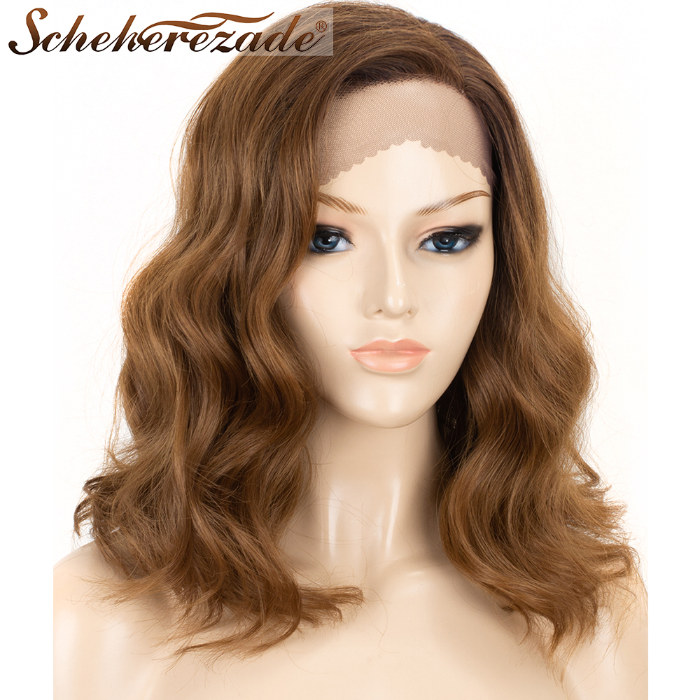 Scheherezade L Part Synthetic Lace Front Wigs For Women Short Bob Wavy Ombre Brown Wigs High Temperature Fiber African American