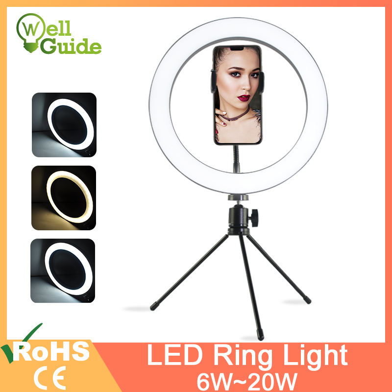 LED Selfie Ring Light 8.3 10 Inch 20W USB 5V Dimmable LED Ring Lamp Photo Video Camera Phone Light With Tripod For Iphone Makeup