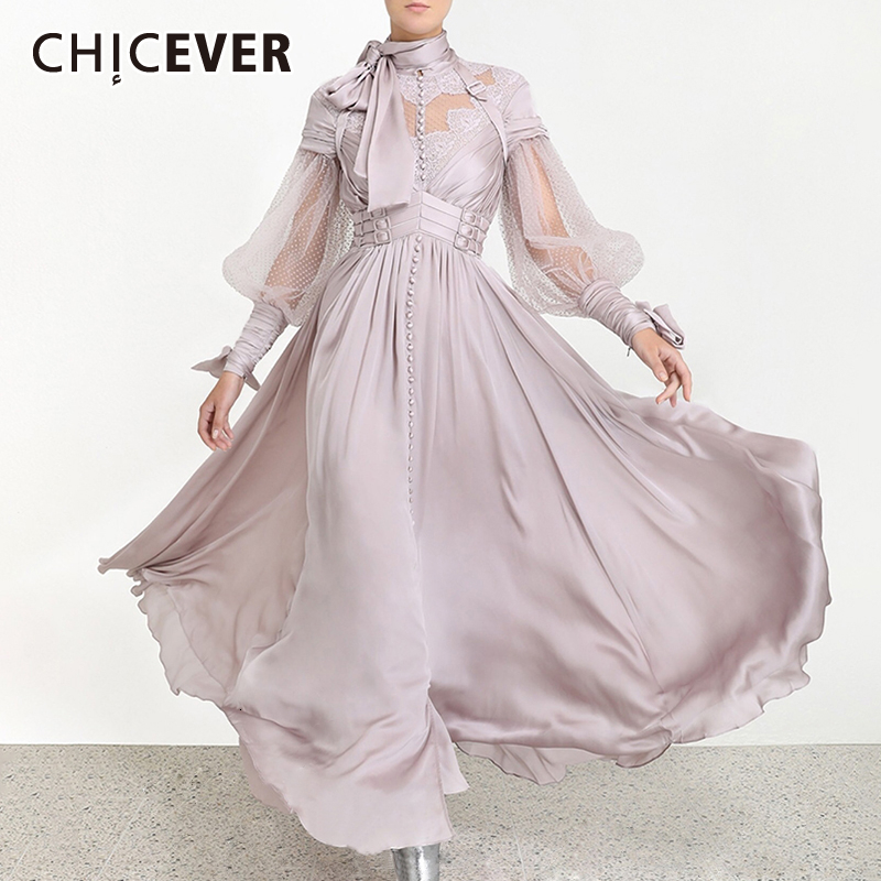 CHICEVER Patchwork Dot Mesh Ruched Dresses Women Turtleneck Lantern Long Sleeve High Waist Lace Up Dress Female Fashion Tide