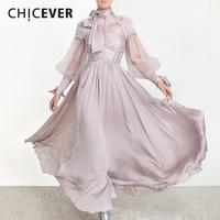 CHICEVER Patchwork Dot Mesh Ruched Dresses Women Turtleneck Lantern Long Sleeve High Waist Lace Up Dress Female Fashion Tide