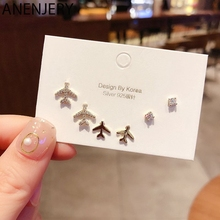 ANENJERY Shiny Micro Inlaid Cubic Zircon Airplane Stud Earrings Set Gold Silver Color Earrings 6-piece Set S-E1149