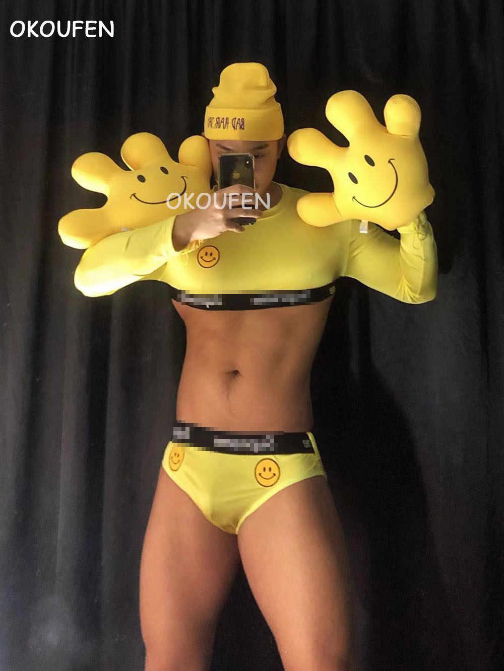 ヨーロッパとアメリカのバーパーティー服バー ds ステージセクシーなショー DJ 男性と女性黄色笑顔潮ブランドスーツ