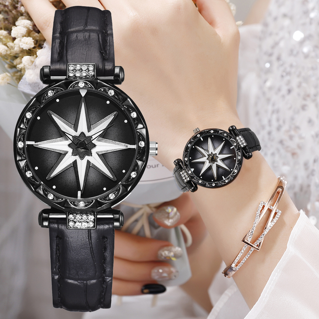 Luxury Diamond Women Watches Fashion Starry Star Ladies Dress Clock Casual Leather Waterproof Female Wristwatch Gift For Girl
