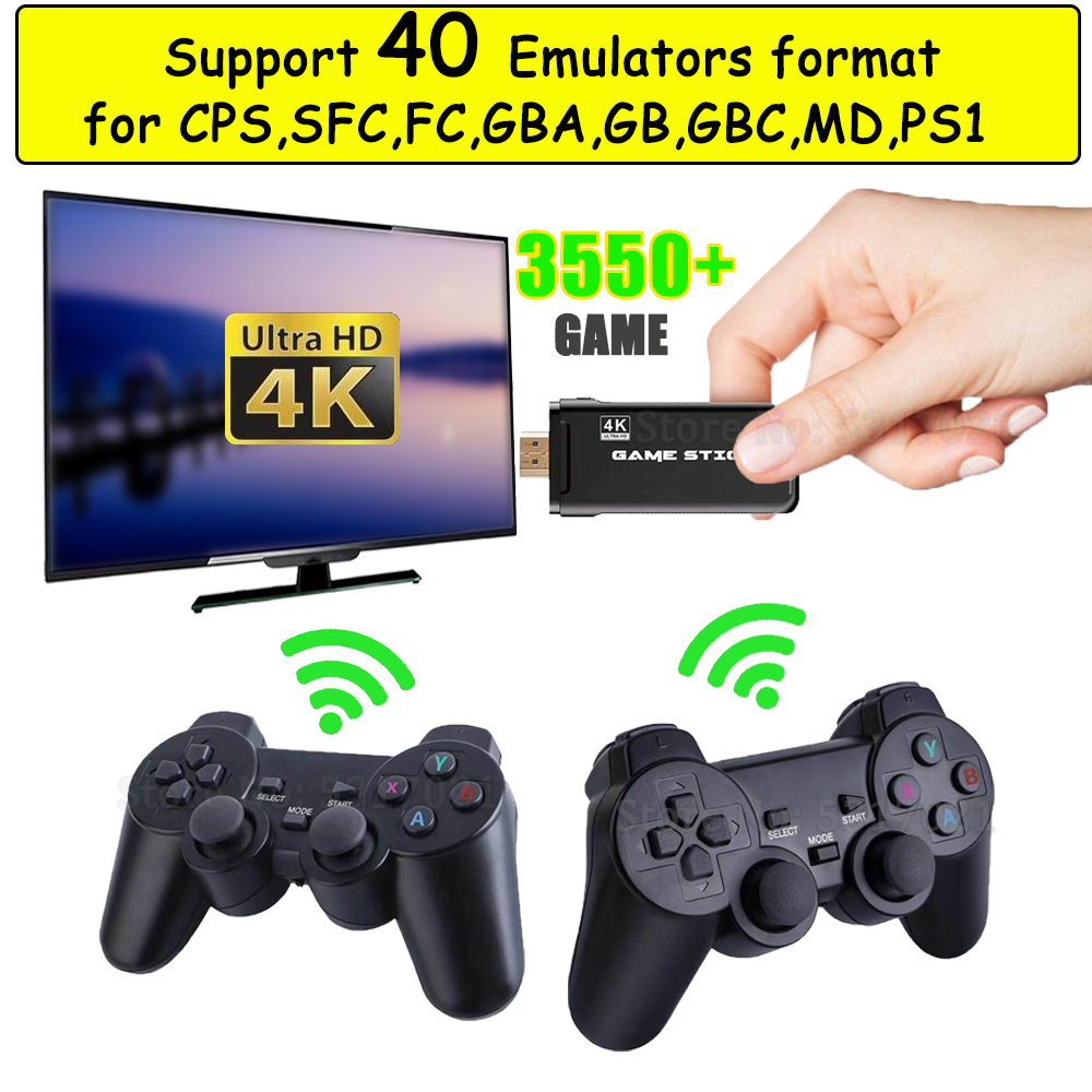 4K HD 64bit 32GB 3550 Games Video game Console HDMI 2 4G Wireless for CPS PS1 Mini Retro Joystick Double Gamepad Controller Gift