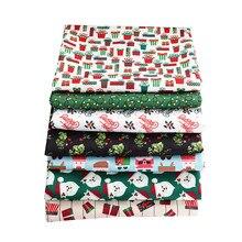 Papai noel floral pano poliéster floco de neve impressão tecido pelo metro decoração de natal ou materiais artesanais tj1390
