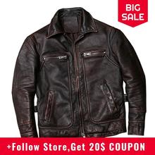 2020 Vintage Brown American Casual Style Leather Jacket Large Size XXXXXL Genuin
