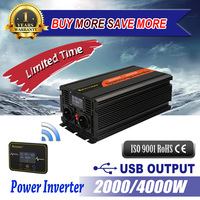 2000/4000W Modified Sine Wave Inverter Step Up Voltage Transformer 12V to 220v Dc to Ac Wireless Remote Control with LCD Display