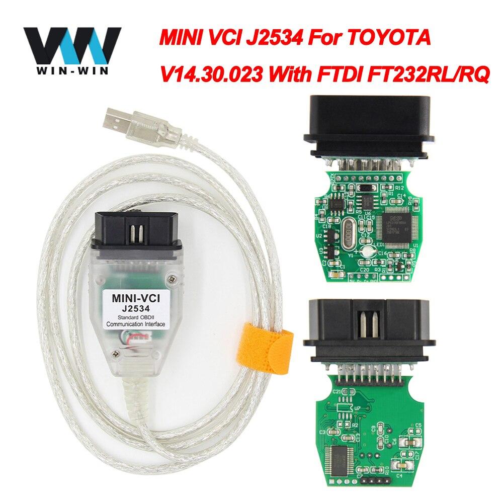 V14.30.023 para toyota mini vci j2534 com ftdi ft232rl obd obd2 ferramenta de diagnóstico do carro auto scanner cabo tis techstream minivci