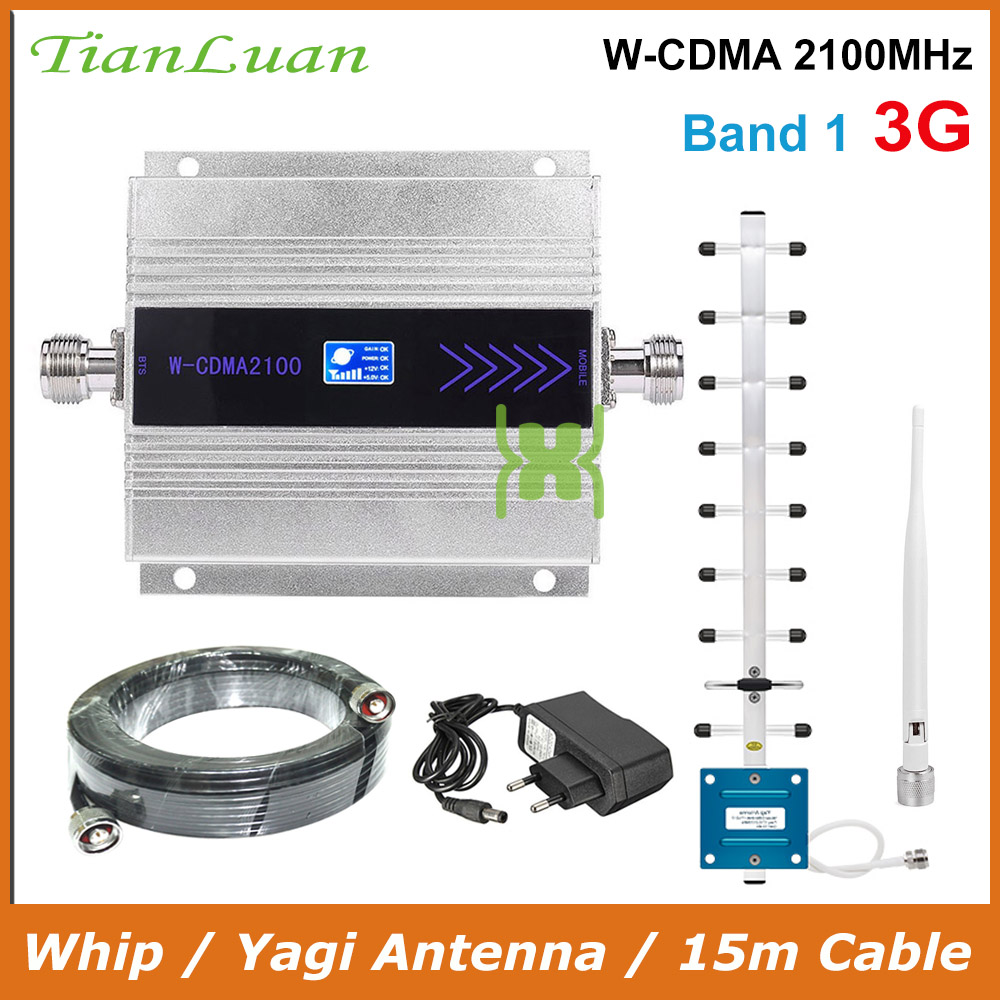 TianLuan Mini W-CDMA 2100Mhz Mobile Phone Signal Booster WCDMA 3G Signal Repeater Amplifier + Whip / Yagi Antenna With 15m Cable