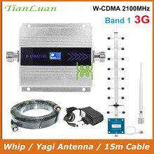 TianLuan Mini W CDMA 2100Mhz cep telefonu sinyal güçlendirici WCDMA 3G sinyal tekrarlayıcı amplifikatör + kırbaç/Yagi anten 15m kablo ile