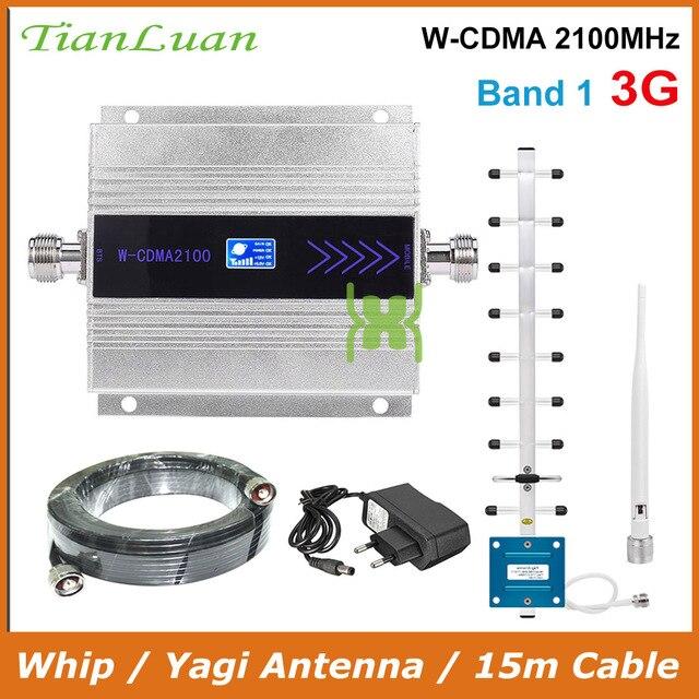 Tianluan 미니 W CDMA 2100 mhz 휴대 전화 신호 부스터 wcdma 3g 신호 리피터 앰프 + 15m 케이블로 채찍/야기 안테나
