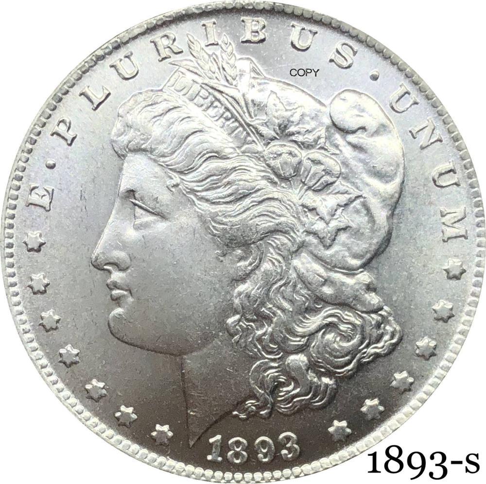 Соединенные Штаты Америки 1893 S Morgan один доллар Монета США Liberty Мельхиор Посеребренная в Боге мы доверяем копия монеты